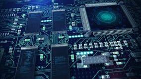 Технология электроники компьютерной микросхемы иллюстрация вектора