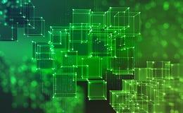 Технология Blockchain Блоки информации в виртуальном пространстве бесплатная иллюстрация