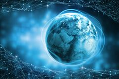 Технология Blockchain Глобальное информационное поле земли планеты Защита и обработка цифровых данных иллюстрация штока