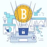 Технология Blockchain Концепция в плоском стиле с виртуальным минированием и анонимностью цепи валюты и блока иллюстрация вектора