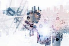 Технологии для соединения и сообщения стоковое изображение