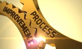 Технологический прогресс на золотых металлических Cogwheels Стоковое фото RF