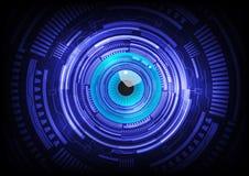 Технология будущего кибер конспекта шарика голубого глаза Стоковые Изображения