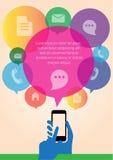 Технология интернета руки Infographic передвижная, передвижной экран касания, infographic вектор Стоковая Фотография