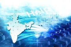 Технология интернета цифров Индии иллюстрация вектора