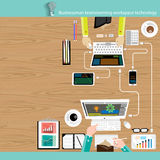 Технология мест работ метода мозгового штурма бизнесмена вектора Стоковые Изображения