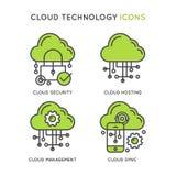 Технология облака, безопасность облака, хостинг Cloug Стоковое Фото
