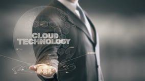 Технология облака с концепцией бизнесмена hologram видеоматериал