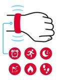 Технология отслежывателя фитнеса пригодная для носки Стоковое Изображение RF