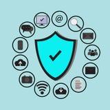 Технология предохранения от коммерческих информаций и безопасность сети облака, значки установили, голубая предпосылка Стоковое фото RF