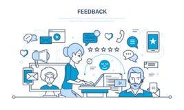 Технология, сообщения, служба технической поддержки и обратная связь, разрешая вопросы, анализ, оценка иллюстрация вектора