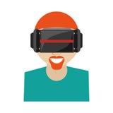 технология стекел виртуальной реальности человека hipter новая Стоковая Фотография