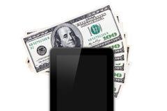 Технология таблетки на 100 банкнотах Стоковое Изображение
