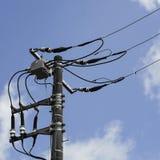 Технология электрических поляка, линии электропередач и кабелей Стоковое Изображение RF