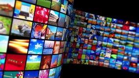 Течь технология средств массовой информации и концепция мультимедиа иллюстрация штока