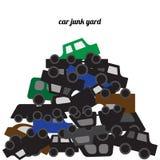 Тела автомобиля штабелированные на junkyard иллюстрация вектора