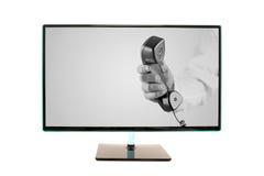 Телевидение плоского экрана на стойке изолированной на белизне Стоковые Изображения RF