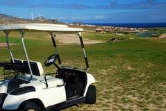 Тележка в поле для гольфа Порту Santo Остров Порту Santo, Мадейра Португалия Стоковые Изображения