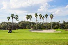 Тележка гольфа на курсе Стоковые Изображения