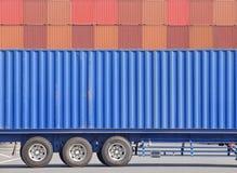 Тележка груза контейнера и стог контейнера Стоковая Фотография