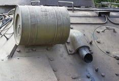 Тележка и колеса советского танка Танк вид сзади Стоковое фото RF