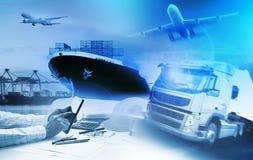Тележка контейнера, корабль в порте и транспортный самолет перевозки в transpo Стоковая Фотография RF