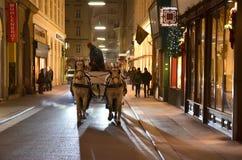 Тележка лошади с 2 лошадями для туриста в городе вены Стоковое Изображение RF