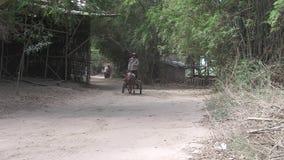 Тележка лошади, транспорт, Камбоджа, Юго-Восточная Азия акции видеоматериалы