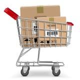 Тележка супермаркета вектора с коробкой Стоковые Изображения