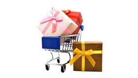 Тележки и подарочная коробка супермаркета Стоковые Фотографии RF