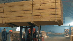 Тележки транспортируя блоки древесины крыто видеоматериал