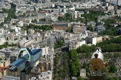 Телезритель телескопа и горизонт города на дневном времени. Париж, Франция. Стоковые Фото