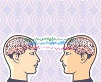 Телепатия между человеческими мозгами через иллюстрацию вектора электроэнцелфалограмм Стоковые Фото
