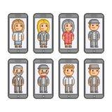 Телефоны коллекции произведений искусства пиксела умные иллюстрация штока