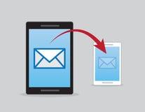 Телефоны посылают по электронной почте посылают стрелку иллюстрация штока