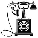 Телефон вектора ретро изолированный на белизне Стоковое Фото