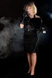 Телефон девушки фильма noir Стоковые Изображения