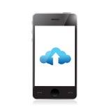 Телефон. загрузка облака и иллюстрация стрелки иллюстрация штока