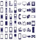 Телефон, значки оборудования на белизне бесплатная иллюстрация
