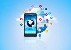 Телефон мультимедиа интернета умный стоковое фото rf