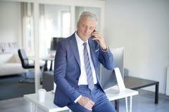 телефон приемной клетки звонока бизнесмена дела говоря к детенышам Стоковые Изображения RF