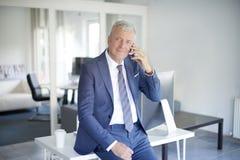 телефон приемной клетки звонока бизнесмена дела говоря к детенышам Стоковые Фото
