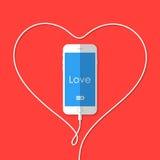 Телефон, провод, сердце, день валентинки Стоковые Изображения RF