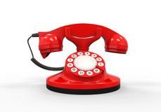 Старый телефон красного цвета год сбора винограда Стоковые Изображения