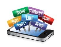 Телефон с социальной иллюстрацией знаков средств массовой информации бесплатная иллюстрация