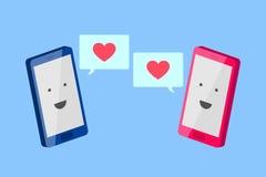 Телефон человека и телефон женщины близкое сообщение влюбленности снятое вверх Стоковое Изображение
