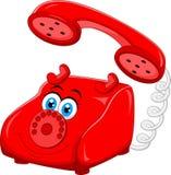 Телефон шаржа красный старый ретро роторный Стоковое фото RF