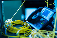Телефон IP в комнате сети Стоковое Изображение