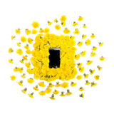 Телефон Mobil умный окруженный желтыми одуванчиками цветет на белизне Стоковые Фото