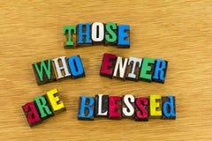 Те которые входят в благословленное приветствие стоковые изображения